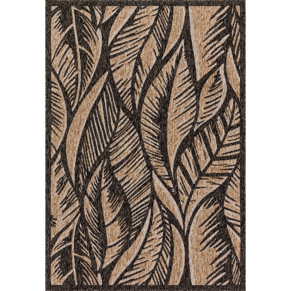Indoor/ Outdoor Hudson Charcoal/ Sand Rug - 7'10 x 10'9