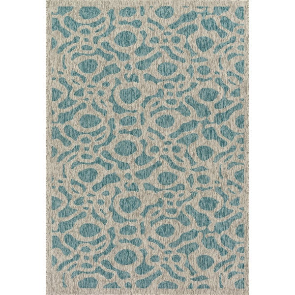 Indoor/ Outdoor Hudson Aqua/ Grey Rug - 2'2 x 3'9