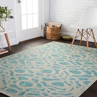 Indoor/ Outdoor Aqua/ Grey Abstract Trellis Patio Rug - 9'2 x 12'1