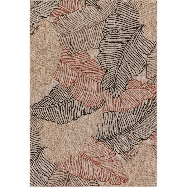 Indoor/ Outdoor Light Brown/ Rust Palm Leaf Patio Rug - 9'2 x 12'1