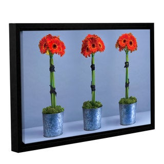 Simon Kayne 'Gerberas' Gallery Wrapped Floater-framed Canvas
