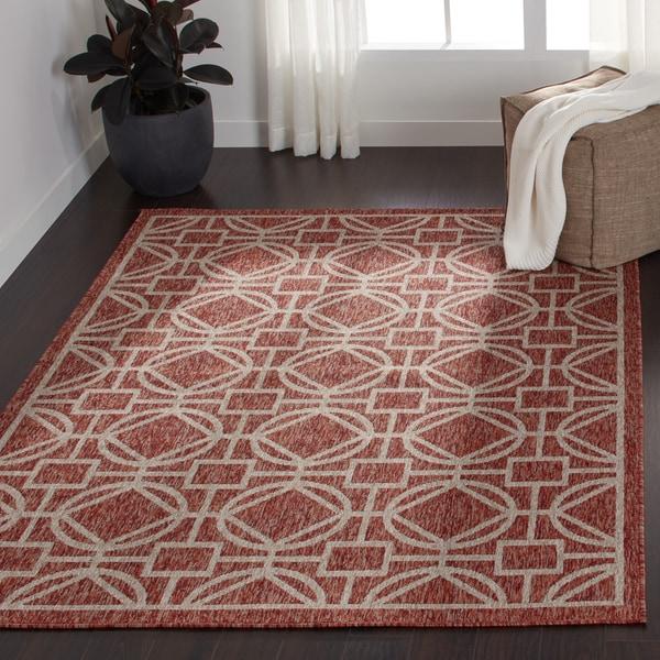 Indoor/ Outdoor Rust/ Grey Geometric Patio Rug - 9'2 x 12'1