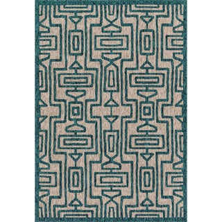 Indoor/ Outdoor Hudson Grey/ Teal Rug (2'2 x 3'9)