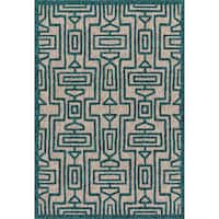 Indoor/ Outdoor Hudson Grey/ Teal Rug - 2'2 x 3'9