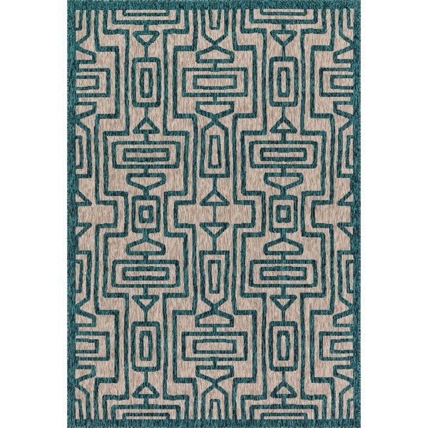 Indoor/ Outdoor Teal/ Grey Geometric Patio Rug - 9'2 x 12'1