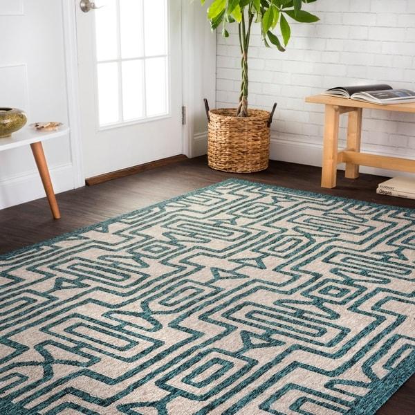 Shop Indoor/ Outdoor Teal/ Grey Geometric Patio Rug