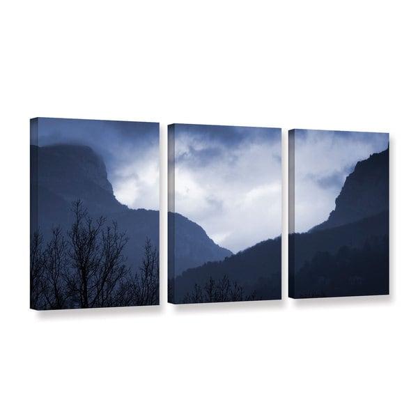 Simon Kayne 'Misty Mountains' 3-piece Gallery Wrapped Canvas Set