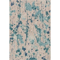 Indoor/ Outdoor Aqua/ Grey Abstract Patio Rug - 9'2 x 12'1