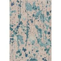 """Indoor/ Outdoor Aqua/ Grey Abstract Patio Rug - 9'2"""" x 12'1"""""""