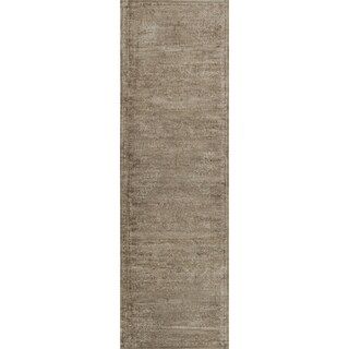 Traditional Distressed Taupe Floral Runner Rug - 2'4 x 7'9
