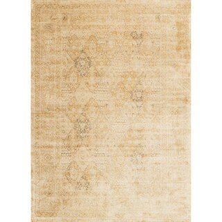 Traditional Distressed Light Gold Floral Filigree Rug - 7'6 x 10'6