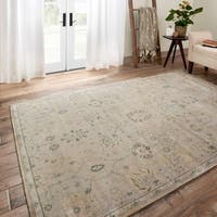 Traditional Distressed Stone Beige/ Blue Floral Rug - 7'6 x 10'6