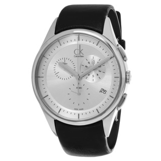 Calvin Klein Men's K2A27138 'Basic' Silver Dial Black Leather Strap Swiss Quartz Watch