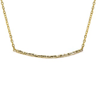 Goldtone Hammered Bar Necklace