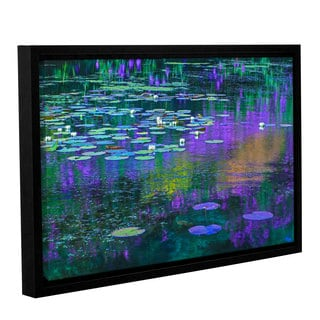 Simon Kayne 'Lilly Pads' Gallery Wrapped Floater-framed Canvas