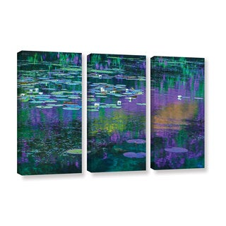 Simon Kayne 'Lilly Pads' 3-piece Gallery Wrapped Canvas Set