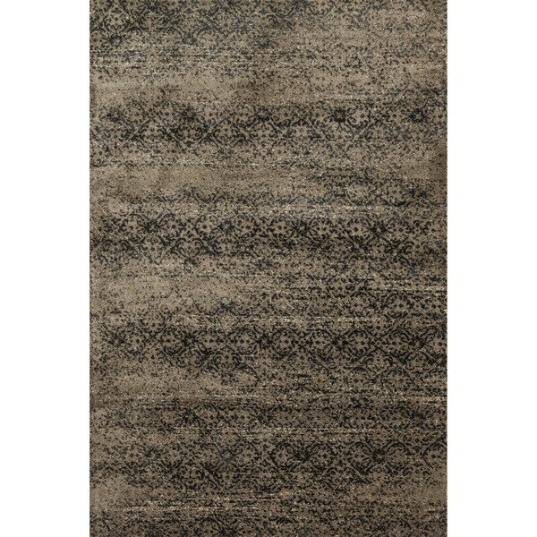 Distressed Dark Taupe/ Slate Grey Damask Rug - 9'2 x 12'2