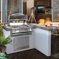 L Shaped 4 Foot Stucco Stainless Steel 4 Burner Grill Island