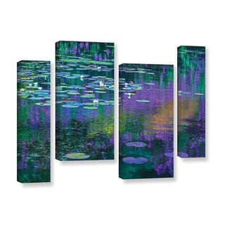 Simon Kayne 'Lilly Pads' 4-piece Gallery Wrapped Canvas Staggered Set