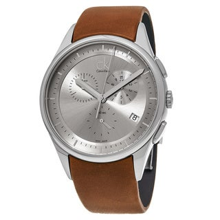 Calvin Klein Men's K2A27141 'Basic' Grey Dial Brown Leather Strap Chronograph Swiss Quartz Watch