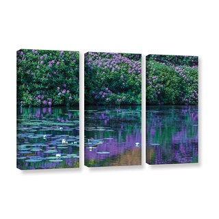 Simon Kayne 'Lilly Pads 2' 3-piece Gallery Wrapped Canvas Set