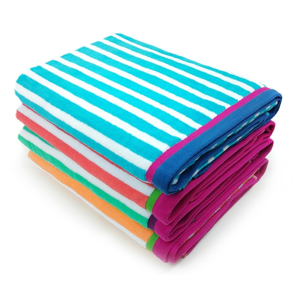 Kaufman Racing Stripe Velour Beach Towels Set Of 4
