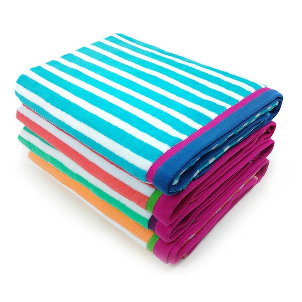 Racing Stripe Velour Beach Towels