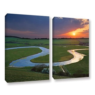 Simon Kayne 'Just Around The Bend' 2-piece Gallery Wrapped Canvas Set