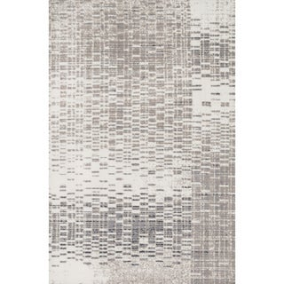 Microfiber Woven Stark Abstract Ivory/ Light Grey Rug (3'6 X 5'6)