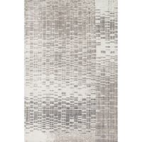 Microfiber Woven Stark Abstract Ivory/ Light Grey Rug - 3'6 X 5'6