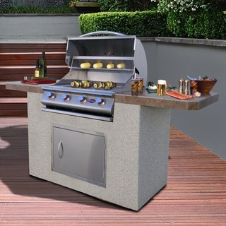 Bistro 470 7 Foot Stucco and Tile 4 Burner BBQ Island Grill