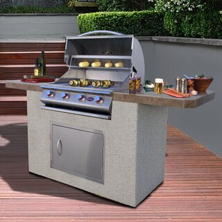 Cal Flame Bistro 470 7 Foot Stucco and Tile 4 Burner BBQ Island Grill