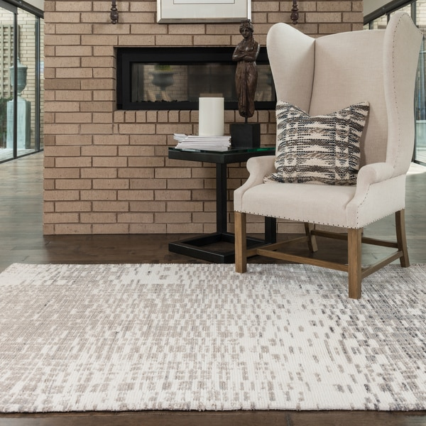 Microfiber Woven Ivory/ Light Grey Modern Abstract Rug - 9'3 x 13'