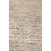 Microfiber Woven Beige/ Grey Modern Abstract Rug - 9'3 x 13'