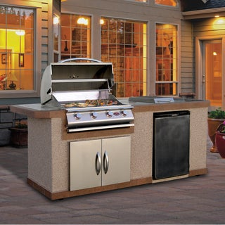 Cal Flame 7 Foot Stucco 4 Burner Grill Island with Tile Top