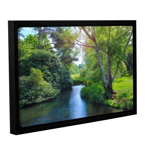 Simon Kayne 'Calm River' Gallery Wrapped Floater-framed Canvas
