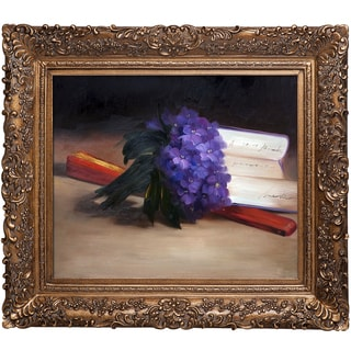 Edouard Manet 'Bouquet Of Violets' Hand Painted Framed Canvas Art