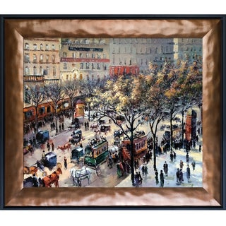 Camille Pissarro 'Boulevard des Italiens, Morning Sunlight' Hand Painted Framed Canvas Art