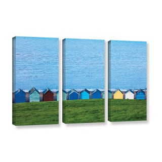 Simon Kayne 'Land And Sea' 3-piece Gallery Wrapped Canvas Set