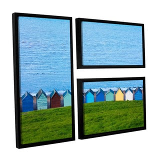 Simon Kayne 'Land And Sea' 3-piece Floater Framed Canvas Flag Set