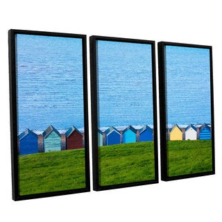 Simon Kayne 'Land And Sea' 3-piece Floater Framed Canvas Set