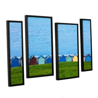 Simon Kayne 'Land And Sea' 4-piece Floater Framed Canvas Staggered Set