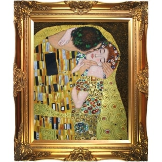 Gustav Klimt 'The Kiss (Luxury Line)' Hand Painted Framed Canvas Art