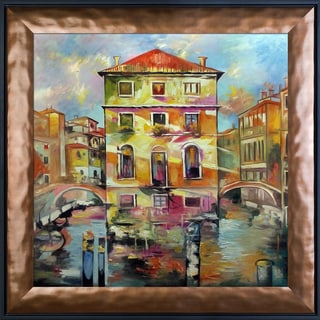 Alex Bertania 'Piccola Venezia' Hand Painted Framed Canvas Art