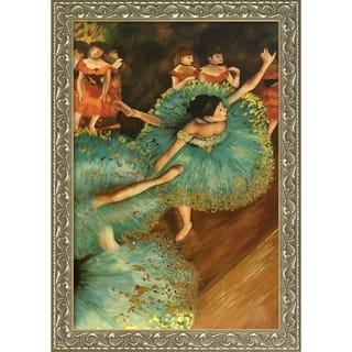 Edgar Degas 'The Green Dancer, 1879 (Luxury Line)' Hand Painted Framed Canvas Art