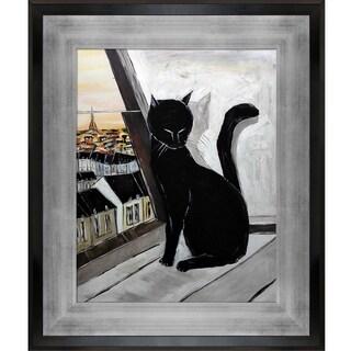 Atelier De Jiel 'Black Cat is a Paris Master' Hand Painted Framed Canvas Art