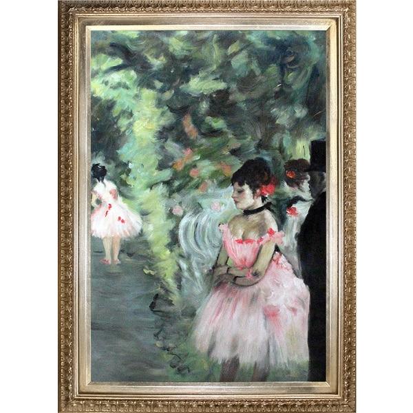 Edgar Degas 'Dancers Backstage' Hand Painted Framed Canvas Art