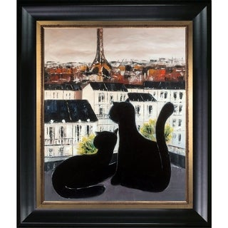 Atelier De Jiel 'Black Cat with His Pretty on Paris Roofs III' Hand Painted Framed Canvas Art