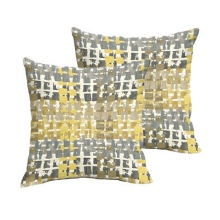 Selena Grey Gold Squares Indoor/ Outdoor Knife-Edge Square Pillows