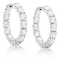 Dolce Giavonna Sterling Silver Cubic Zirconia Hoop Earrings